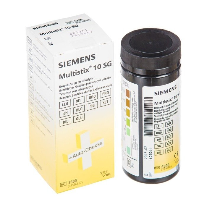 SIEMENS MULTISTIX (100 sztuk) - paski do badania moczu - 10 parametrów: leukocyty, azotyny, urobilinogen, glukoza, bilirubina, ciała ketonowe, ciężar właściwy, krew, pH i białko.